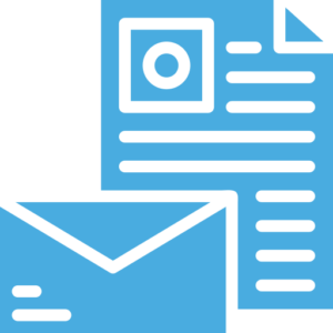 paper and envelope icon - light blue