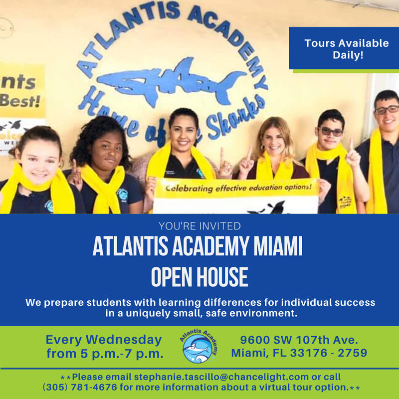 Flyer for Atlantis Academy Miami Wednesday open houses. Photo of female teachers and multiple students smiling at the camera. Text included in this image is on the page itself.